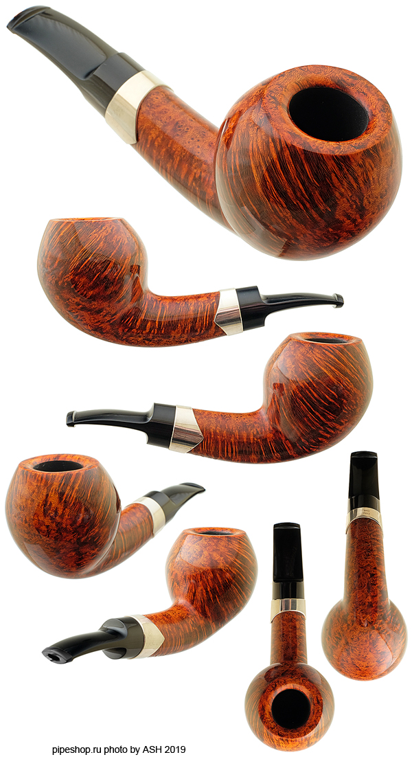 Курительная трубка S. BANG SMOOTH SLIGHTLY BENT ACORN WITH SILVER UN 1950