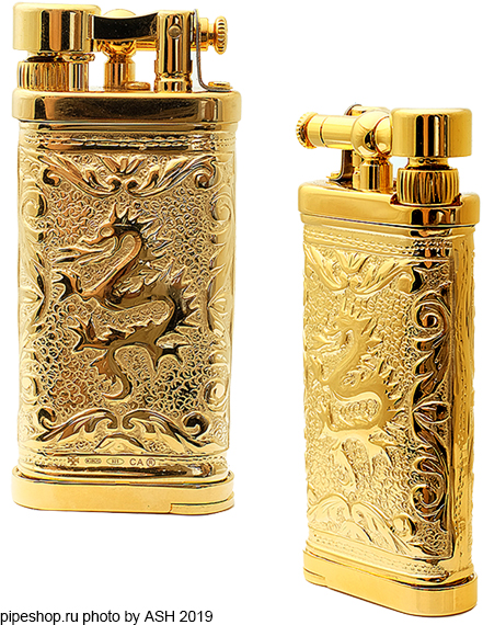 "Зажигалка трубочная SILLEM`S Old Boy Linea Epoque Antique Gold Puro Sterling silver ""DRAGON"" LIMITED EDITION 1989PG"