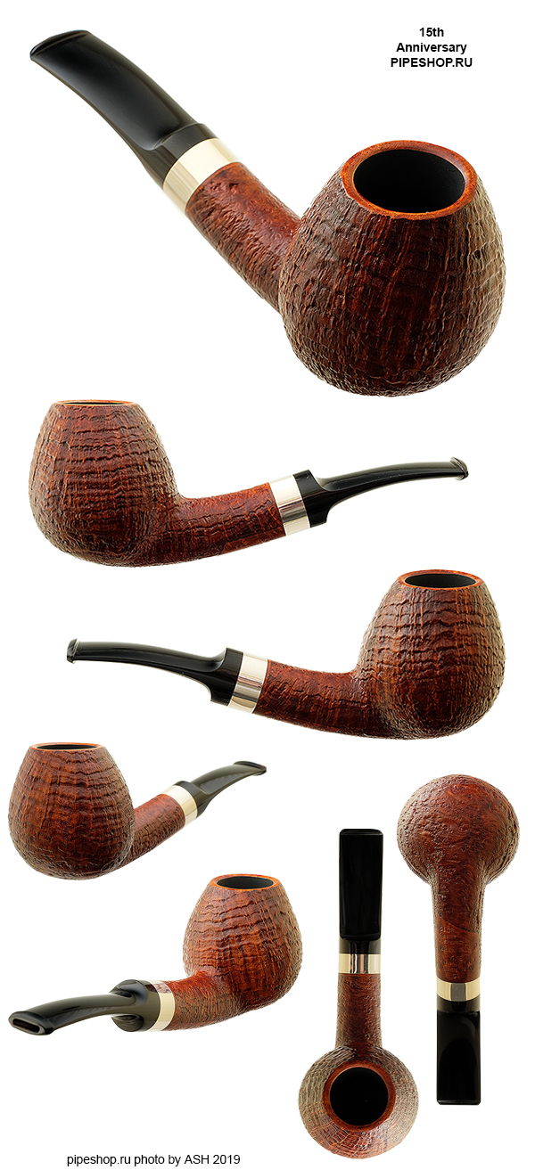 Курительная трубка ГРЕЧУХИН DESIGN SANDBLAST BENT BRANDY WITH SILVER 15th ANNIVERSARY PIPESHOP.RU 5/9