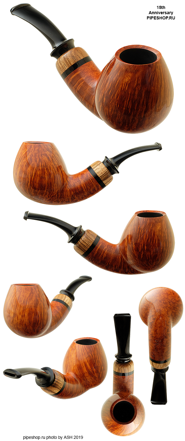 Курительная трубка PS Studio SMOOTH BENT BRANDY WITH ZEBRANO 15th ANNIVERSARY PIPESHOP.RU 12/15