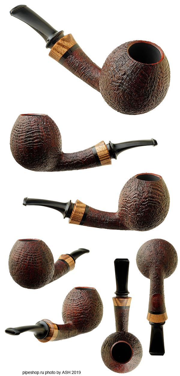 Курительная трубка PS Studio BROWN SANDBLAST BENT EGG WITH ZEBRANO