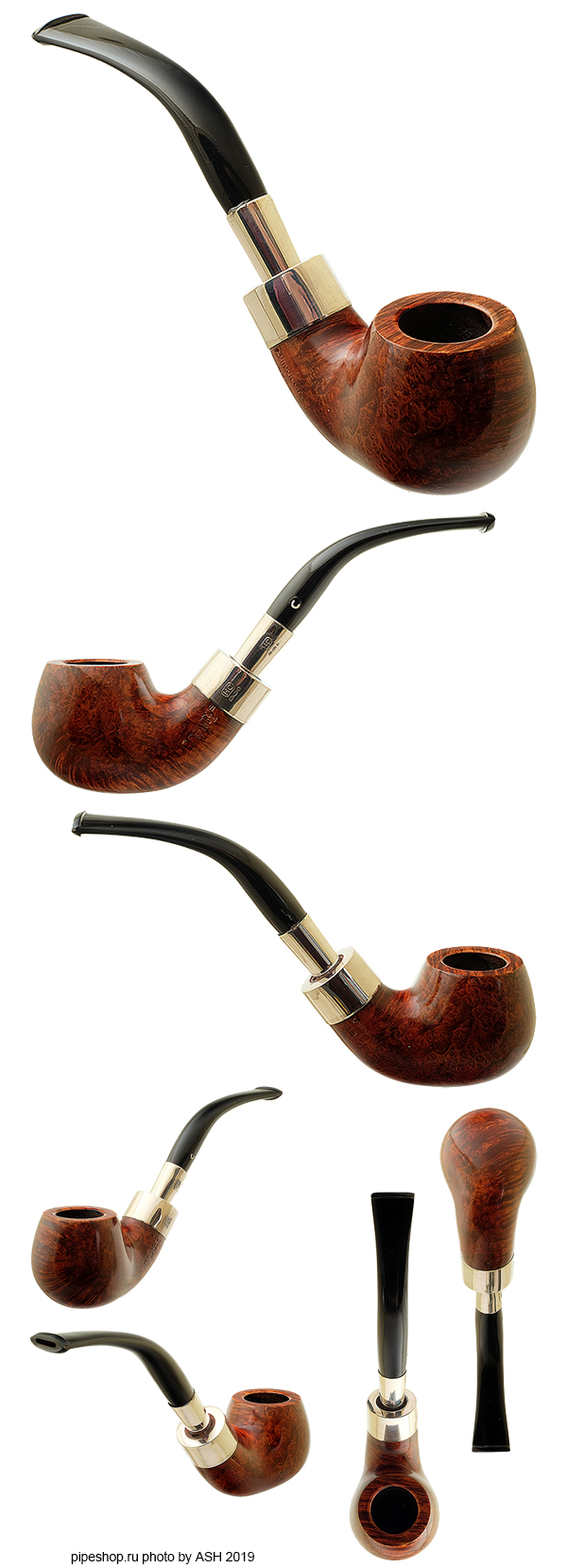 Курительная трубка COMOY`S SPIGOT DE LUXE BENT APPLE SILVER ARMY MOUNT 398
