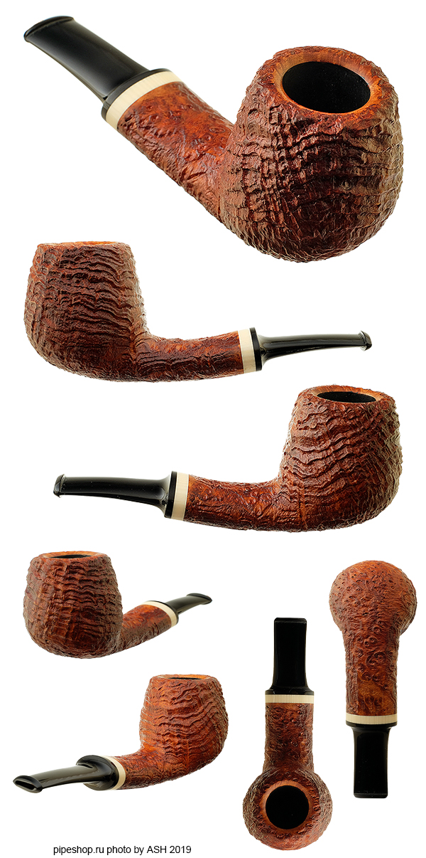 Курительная трубка ГРЕЧУХИН BROWN SANDBLAST STRAWBERRY WOOD SLIGHTLY BENT BILLIARD WITH IVORITE