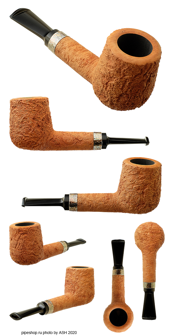 Курительная трубка J. ALAN TAN SANDBLAST BITTY BILLIARD WITH SILVER 1605-19