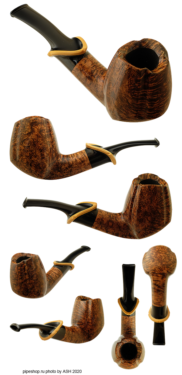 Курительная трубка YASHTYLOV SMOOTH BENT PANELED BRANDY WITH BOXWOOD