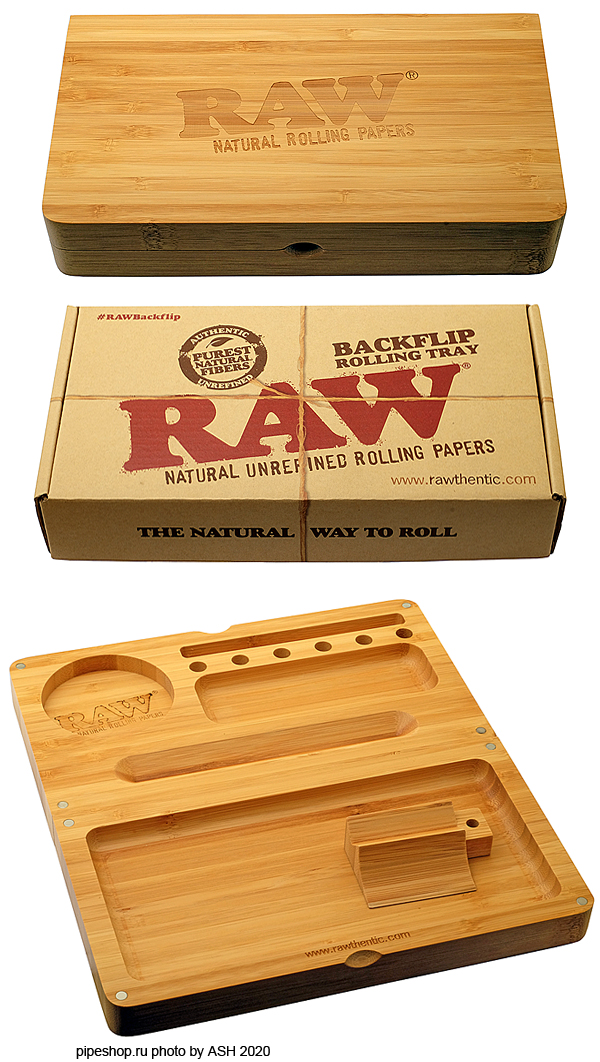 Лоток-органайзер RAW BACKFLIP ROLLING TRAY BAMBOO MAGNET 23,8х21,8 см.